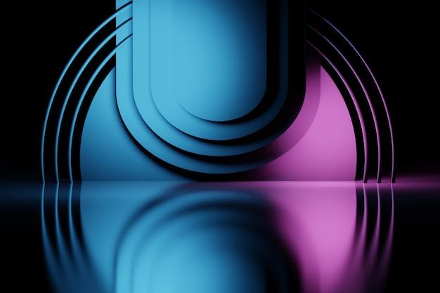 Composição em camadas abstrata com círculos e tubos Foto Premium