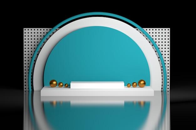 Composição geométrica nas cores brancas azuis em fundo preto Foto Premium