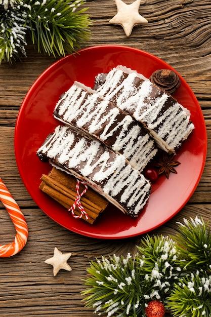 Composição plana de delicioso prato de natal Foto gratuita