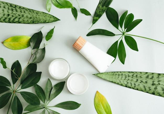 Composição plana leiga com produtos cosméticos. cosméticos naturais e folhas verdes Foto Premium
