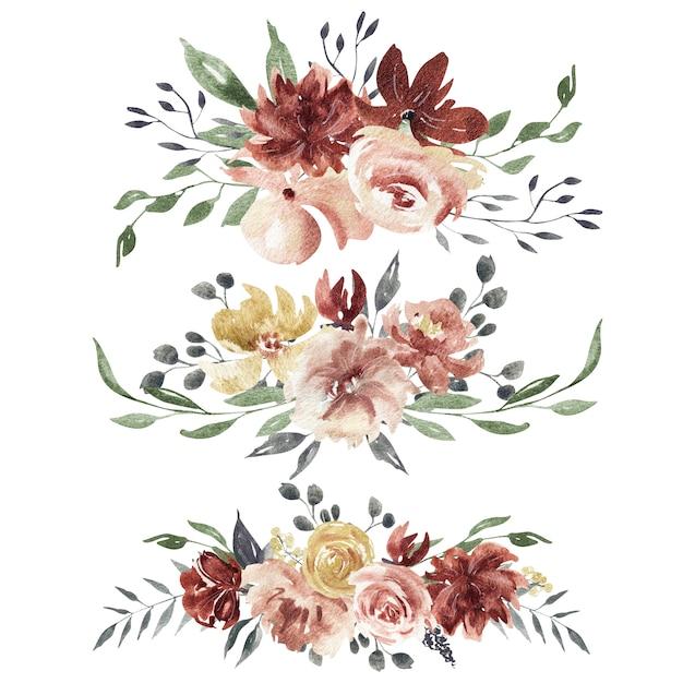 Composições florais em aquarela Foto Premium
