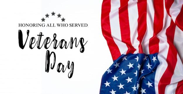 Composto, de, bandeira dia veterans Foto Premium