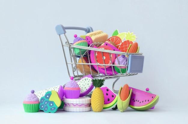 Comprar comida diet e frutas online. carrinho de compras Foto Premium