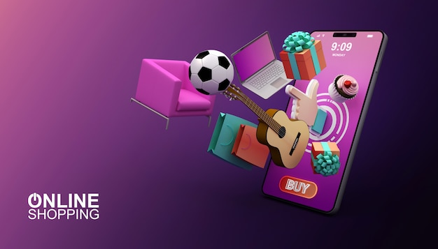 Compras on-line, aplicativo móvel, ilustração de renderização 3d Foto Premium