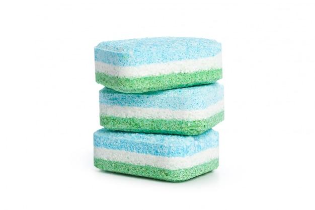 Comprimidos de máquina de lavar louça em branco Foto Premium