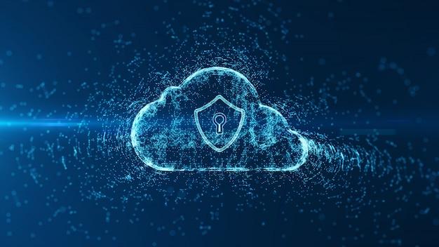 Computação em nuvem e segurança cibernética. Foto Premium