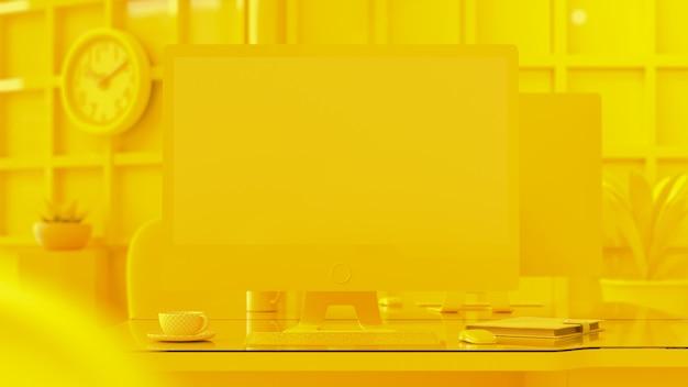 Computador fundo amarelo cor. Foto Premium