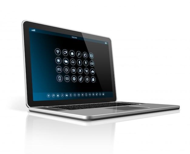 Computador portátil - interface de ícones de aplicativos Foto Premium
