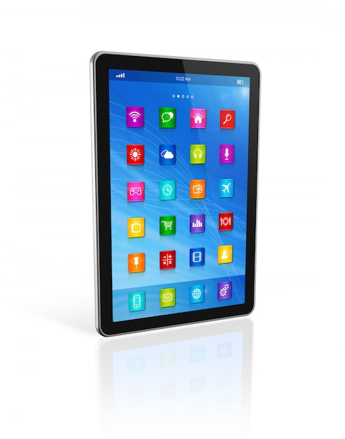 Computador tablet digital, interface de ícones de aplicativos Foto Premium