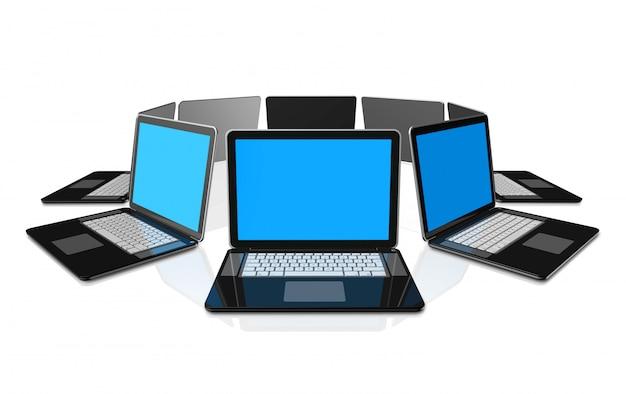 Computadores portáteis pretos 3d isolados no branco Foto Premium