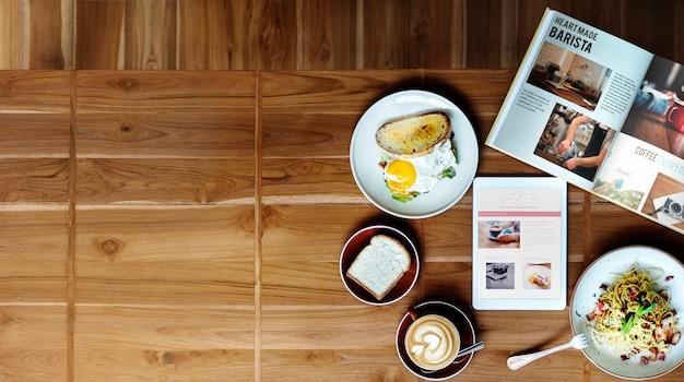 Conceito contemporâneo delicioso do café do alimento de café da manhã Foto gratuita