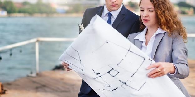 Conceito da construção da estrutura de planeamento de servey do colaborador Foto Premium