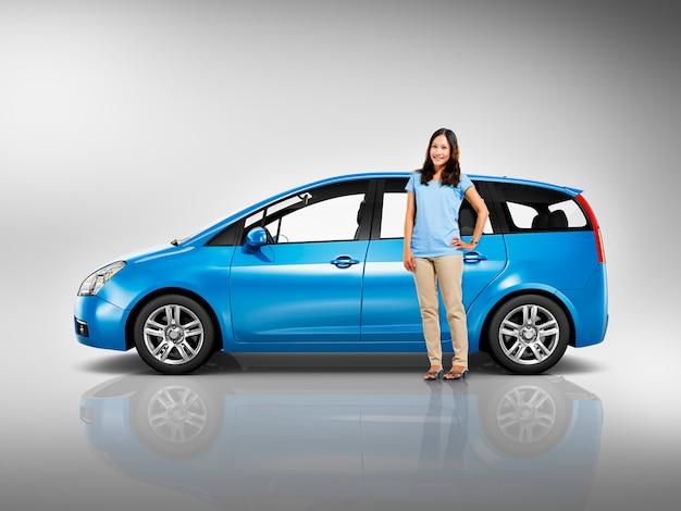 Conceito da ilustração do transporte 3d da carrinha do veículo do carro Foto Premium