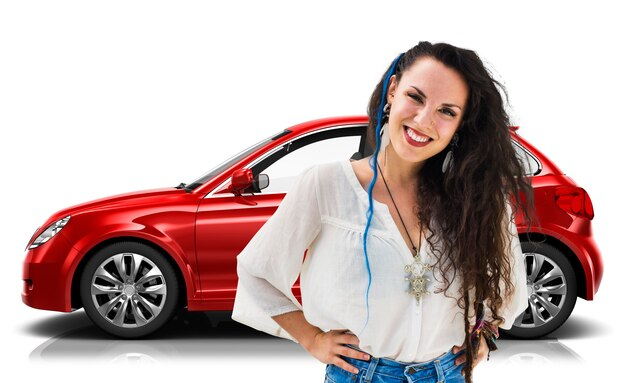Conceito da ilustração do transporte 3d do veículo com porta traseira do veículo Foto Premium