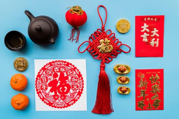 Conceito de ano novo chinês com vários elementos Foto gratuita