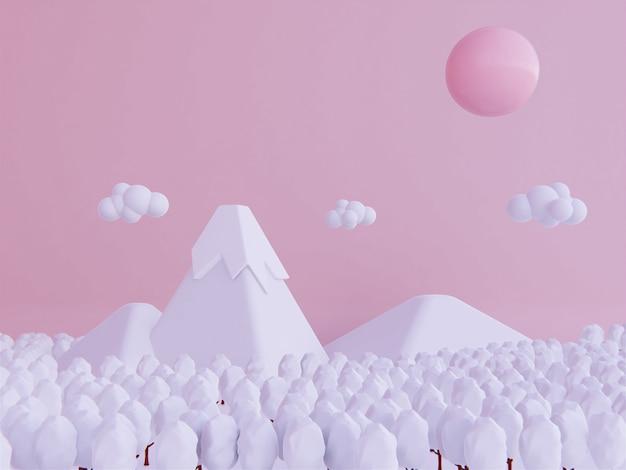 Conceito de ano novo de inverno. fundo de desenhos animados de montanha de neve Foto Premium