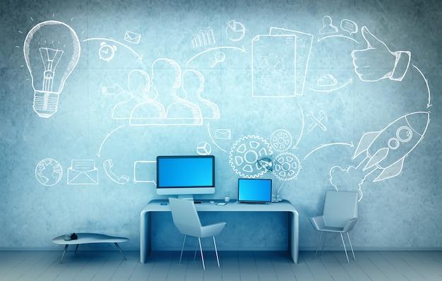 Conceito de apresentação do projeto desenhado mão na renderização 3d de escritório Foto Premium