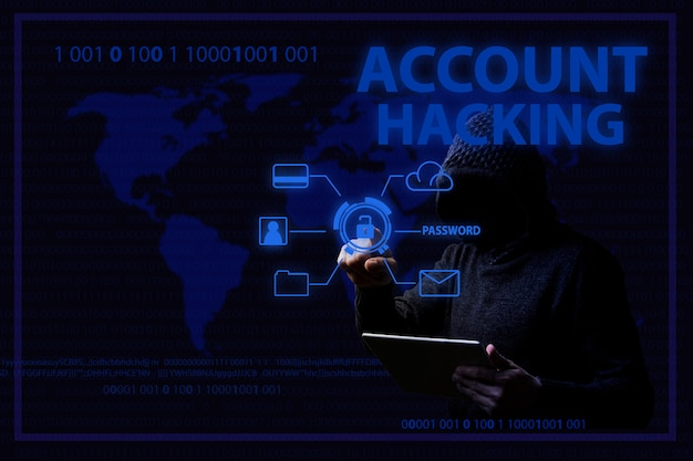 Conceito de ataques de hackers e conta de hackers com um homem sem rosto em uma capa e iluminação azul Foto Premium