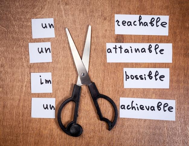 Conceito de auto-motivação. palavras negativas cortadas com uma tesoura. Foto Premium