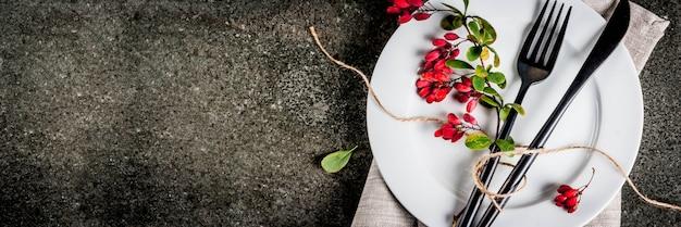 Conceito de cena de comida outono. jantar de ação de graças Foto Premium