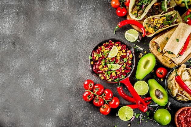 Conceito de comida mexicana. comida de cinco de mayo. Foto Premium
