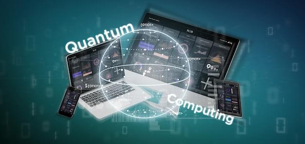 Conceito de computação quântica com qubit e dispositivos de renderização em 3d Foto Premium