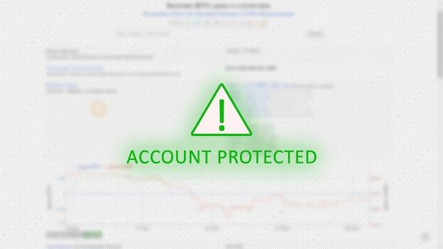 Conceito de conta protegida com ponto de exclamação em triângulo verde sobre gráficos de bitcoin Foto Premium