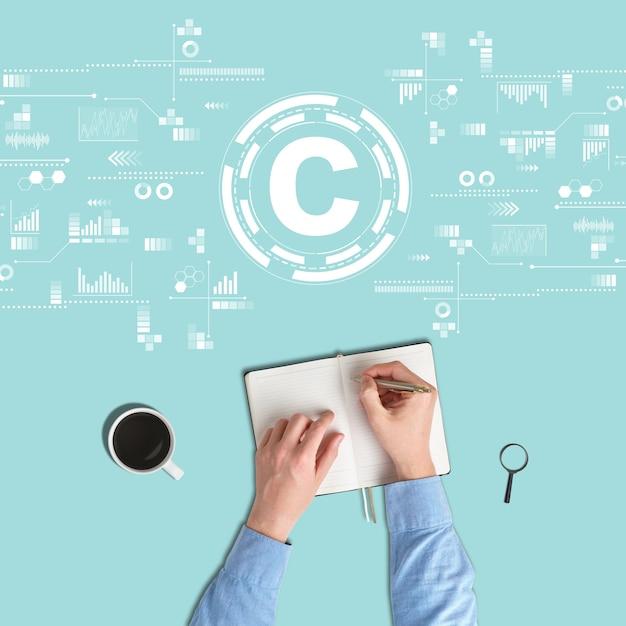 Conceito de copyright e proteção dos direitos do proprietário Foto Premium