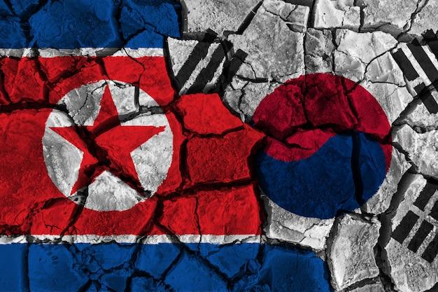 Conceito de crise e conflito da coreia do sul e coreia do norte Foto Premium