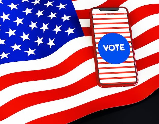 Conceito de eleições americanas com bandeira americana Foto gratuita