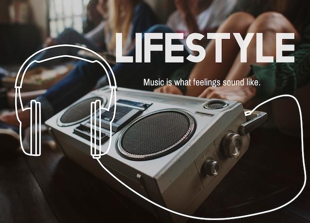 Conceito de entretenimento de lazer de estilo de vida de música Foto gratuita