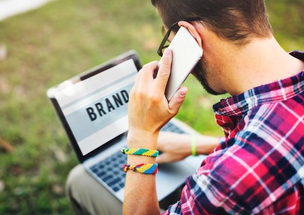 Conceito de estratégia de negócios de marketing de marca da marca Foto Premium