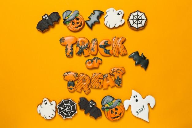 Conceito de halloween com cookies Foto Premium