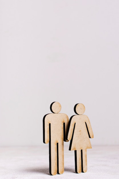 Conceito de igualdade de homem e mulher de papelão Foto gratuita