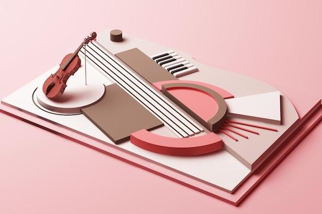 Conceito de instrumento de violino e música composição abstrata de plataformas de formas geométricas em renderização 3d em tom rosa pastel Foto Premium