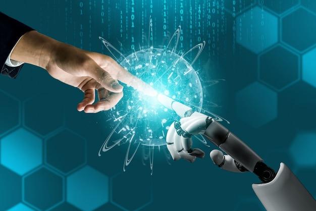Conceito de inteligência artificial de robô futurista. Foto Premium