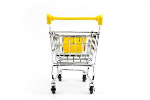 Conceito de loja de carrinho de compras amarelo mini Foto Premium
