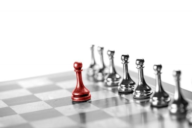 Conceito de negócio de xadrez, líder e sucesso Foto Premium