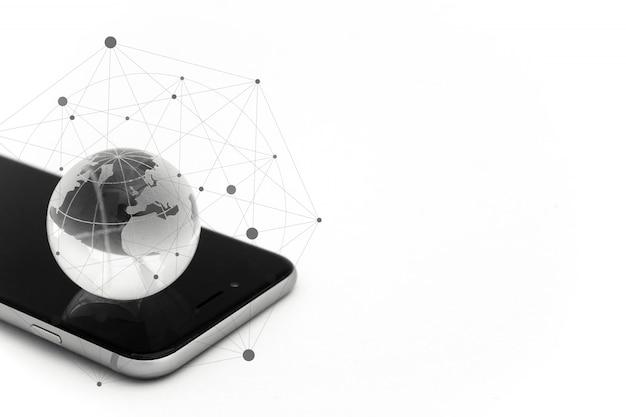 Conceito de negócios globais e internacionais. mundo conectado. conceito de rede social. Foto Premium