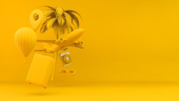 Conceito de objetos de viagem em amarelo Foto Premium
