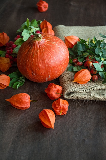 Conceito de outono com frutas e legumes. abóbora, figos, folhas de outono. Foto Premium