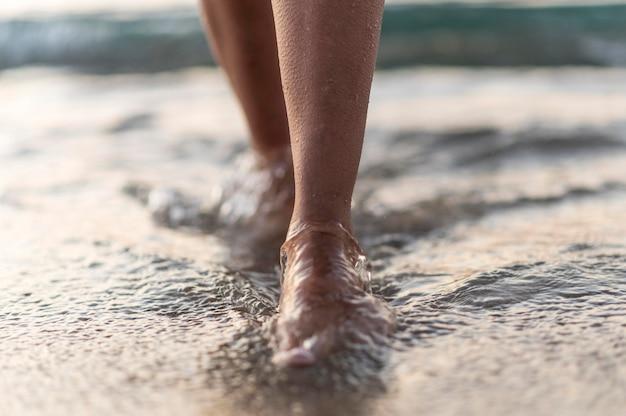 Conceito de praia em close-up Foto gratuita