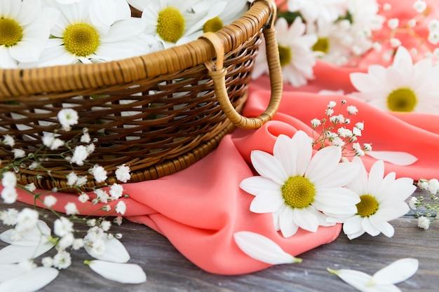 Conceito de primavera com cesta de flores Foto gratuita
