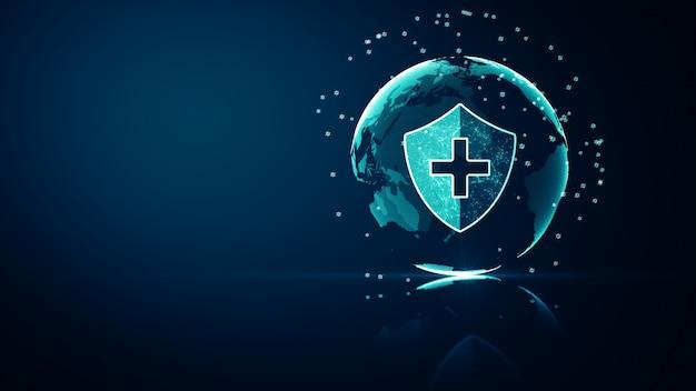 Conceito de proteção de sistema de saúde médica de rede global. ícone de escudo de proteção médica futurista de saúde com estrutura de arame brilhante acima de múltiplos sobre fundo azul escuro. Foto Premium