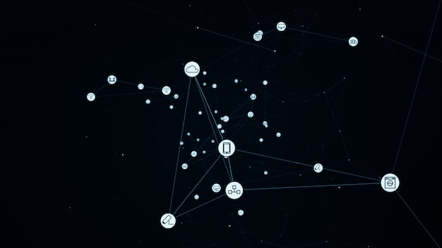 Conceito de rede global. iot (internet das coisas). tic (rede de comunicação de informação) Foto Premium