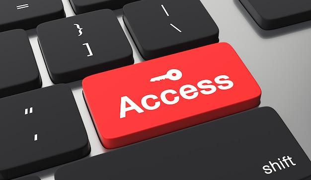 Conceito de segurança de dados. acessar texto no botão do teclado Foto Premium