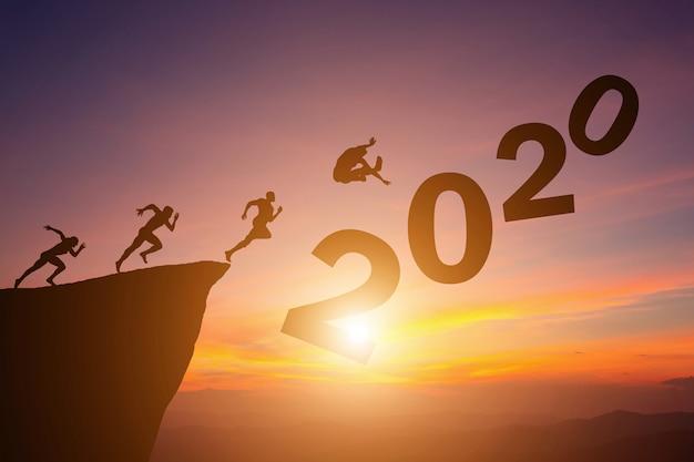 Conceito de silhueta do ano novo 2020 Foto Premium