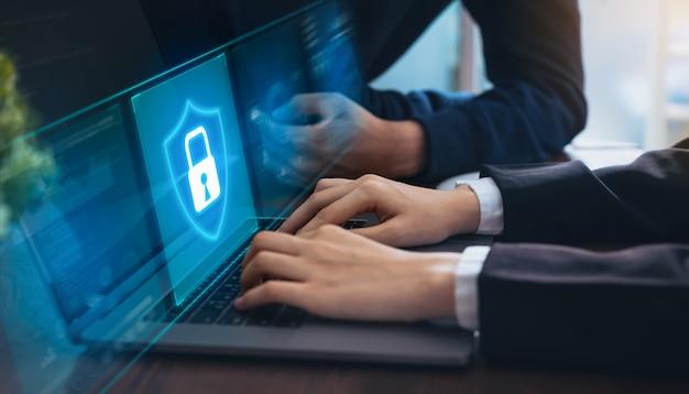 Conceito de tecnologia com cyber segurança internet e redes, Foto Premium