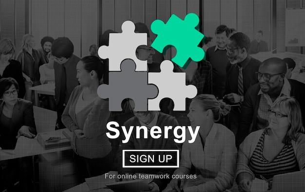 Conceito de trabalho em equipe de cooperação de colaboração de sinergia Foto gratuita