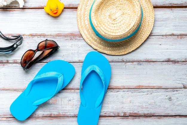 Conceito de verão tropical da vista superior Foto Premium